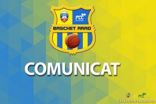 Comunicat FCC Baschet Arad - 26 august 2020